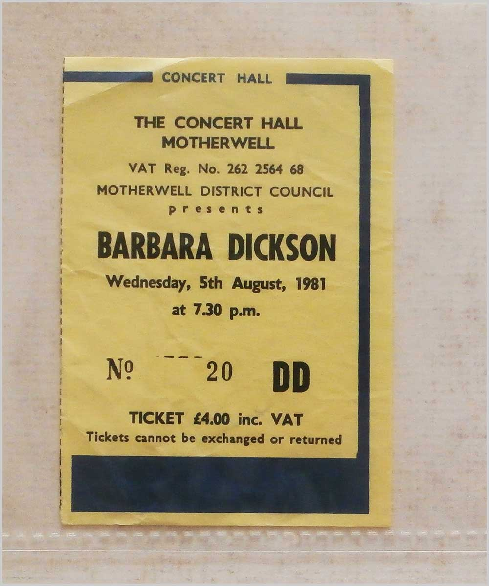 Barbara Dickson - Wednesday 5 August 1981, The Concert Hall, Motherwell (P6050276)