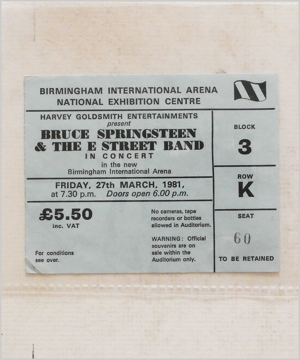 Bruce Springsteen and The E Street Band - Friday 27 March 1981, Birmingham International Arena (P6050282)