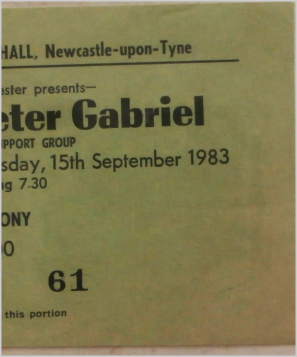 Peter Gabriel - Thursday 15 September 1983, City Hall, Newcastle-Upon-Tyne (P6050284)