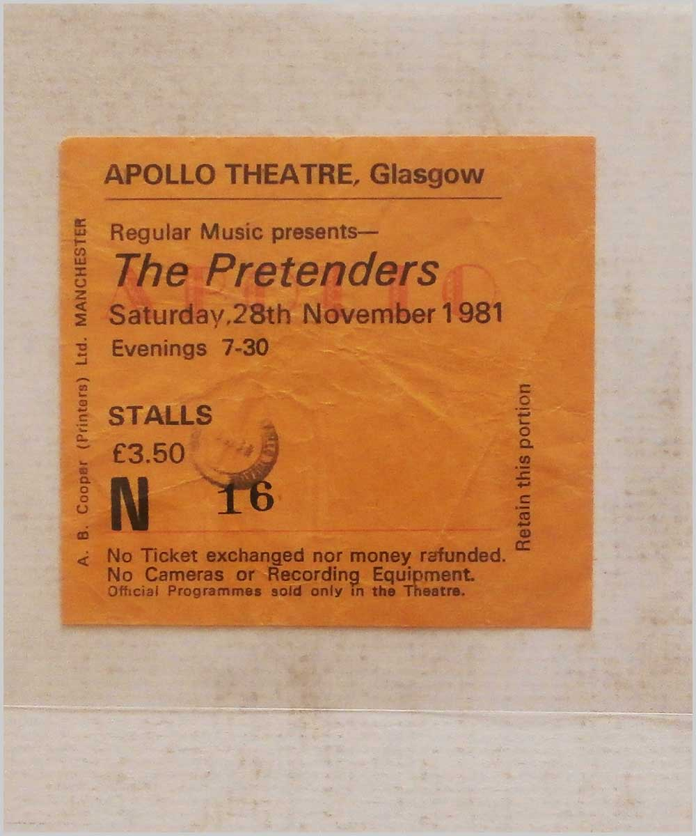 The Pretenders - Saturday 28 November 1981, Apollo Theatre Glasgow (P6050293)