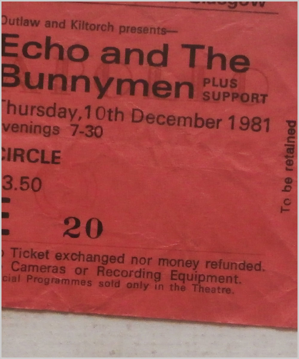 Echo and The Bunnymen - Thursday 10 December 1981, Apollo Theatre Glasgow (P6050294)