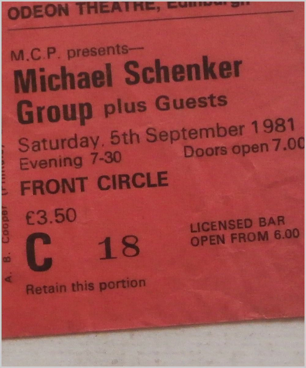 Michael Schenker Group - Saturday 5 September 1981, Odeon Theatre, Edinburgh (P6050296)