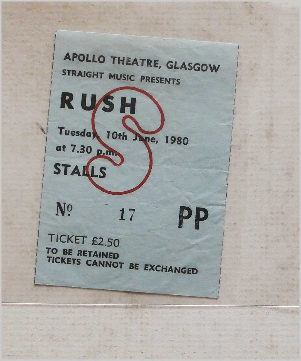 Rush - Tuesday 10 June 1980, Apollo Theatre Glasgow (P6050300)