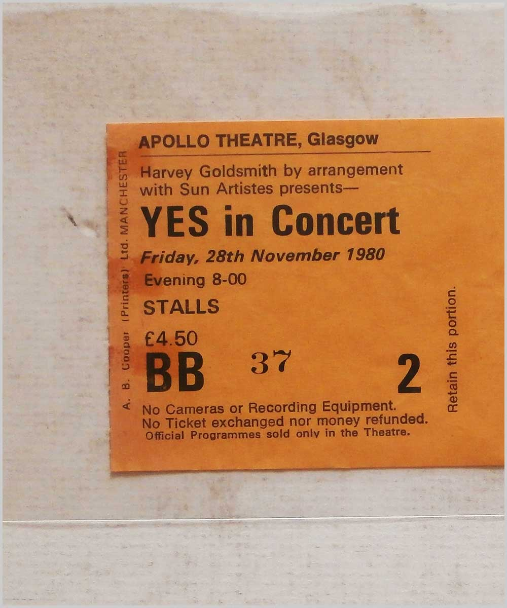 Yes - Friday 28 November 1980, Apollo Theatre Glasgow (P6050309)