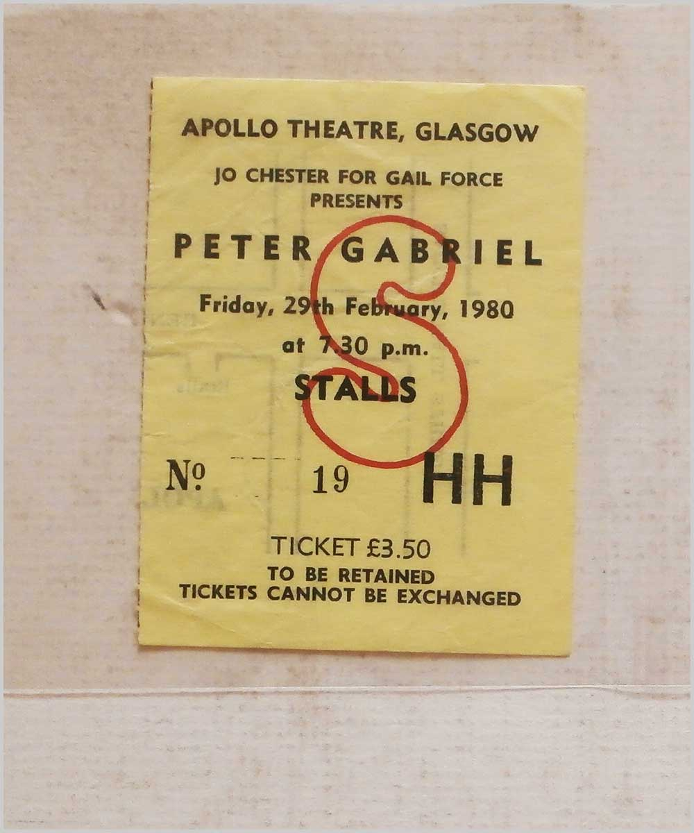 Peter Gabriel - Friday 29 February 1980, Apollo Theatre Glasgow (P6050311)
