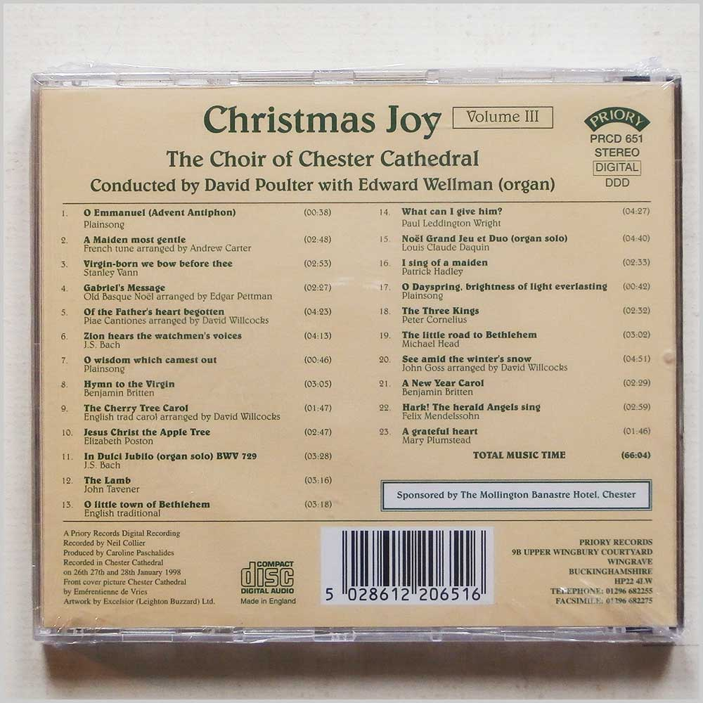 The Choir of Chester Cathedral - Christmas Joy, Volume Three (5028612206516)