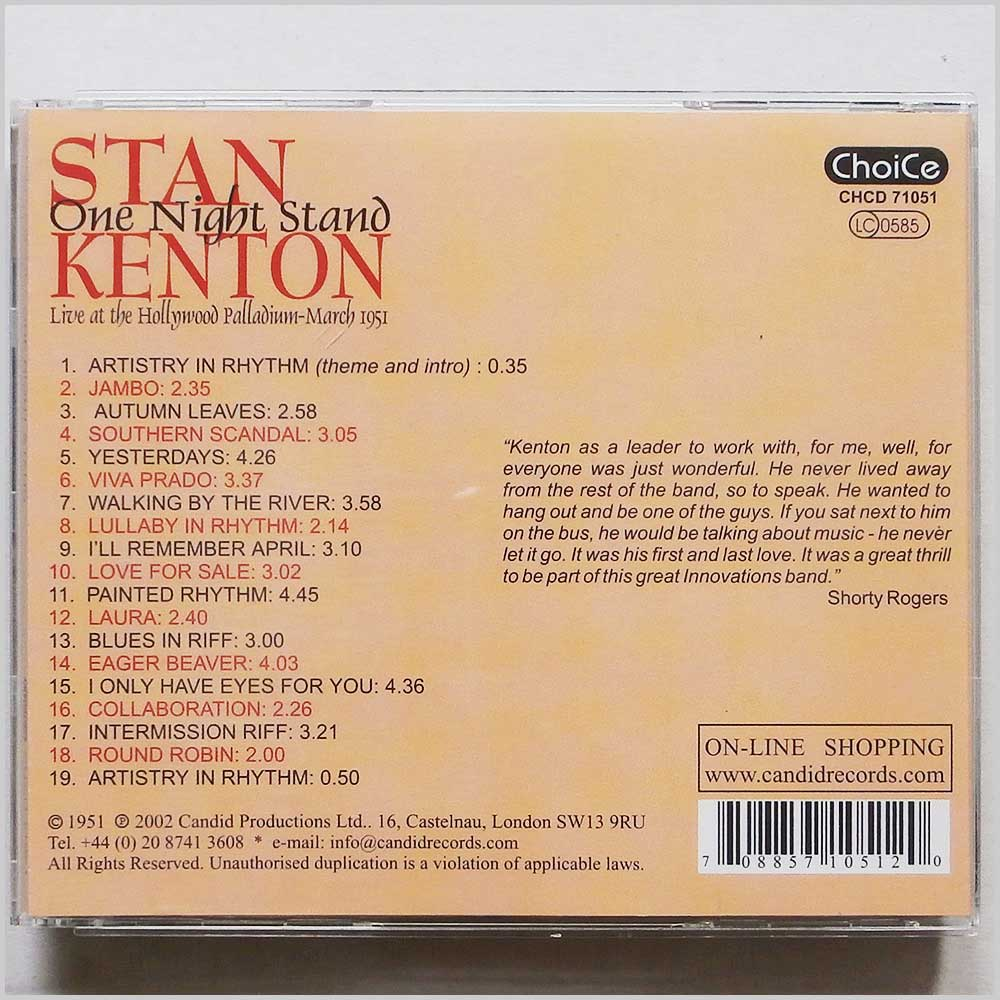 Stan Kenton - One Night Stand (708857105120)