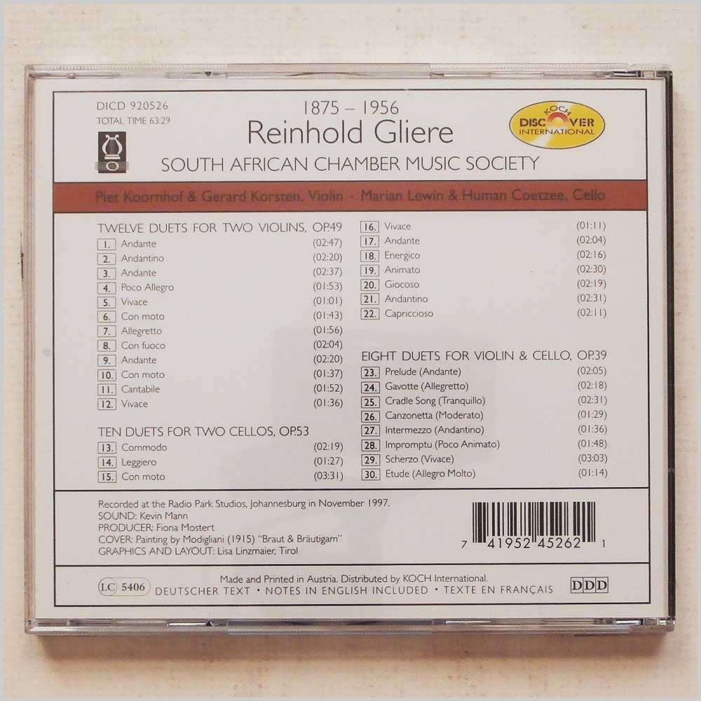 South African Chamber Music Society - Reinhold Gliere: Duets for Violin and Cello (741952452621)