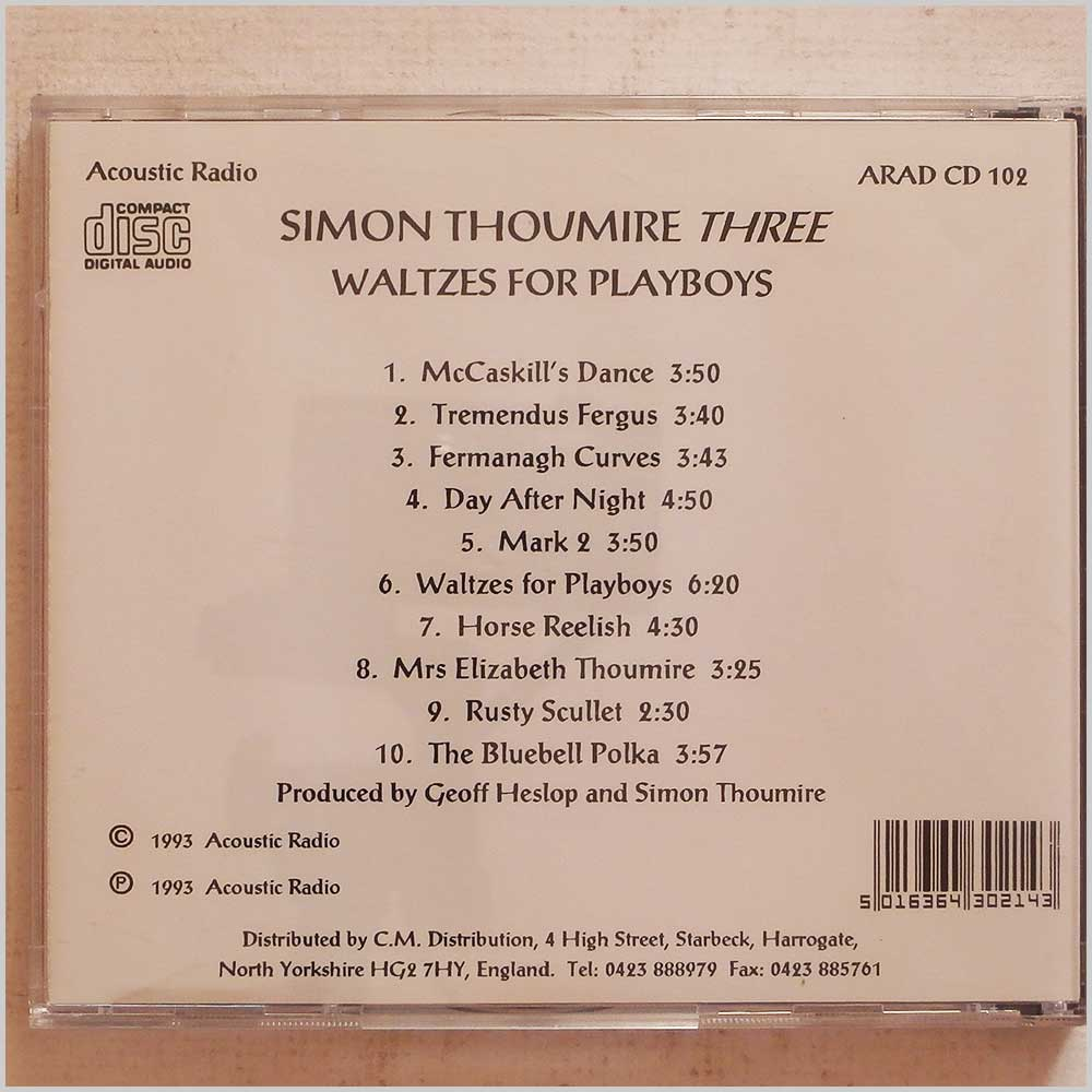 Simon Thoumire Three - Waltzes for Playboys (ARAD CD 102)