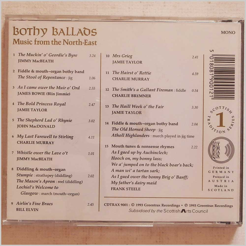Various - Scottish Tradition 1: Bothy Ballads, Music from the North-East (CDTRAX 9001)