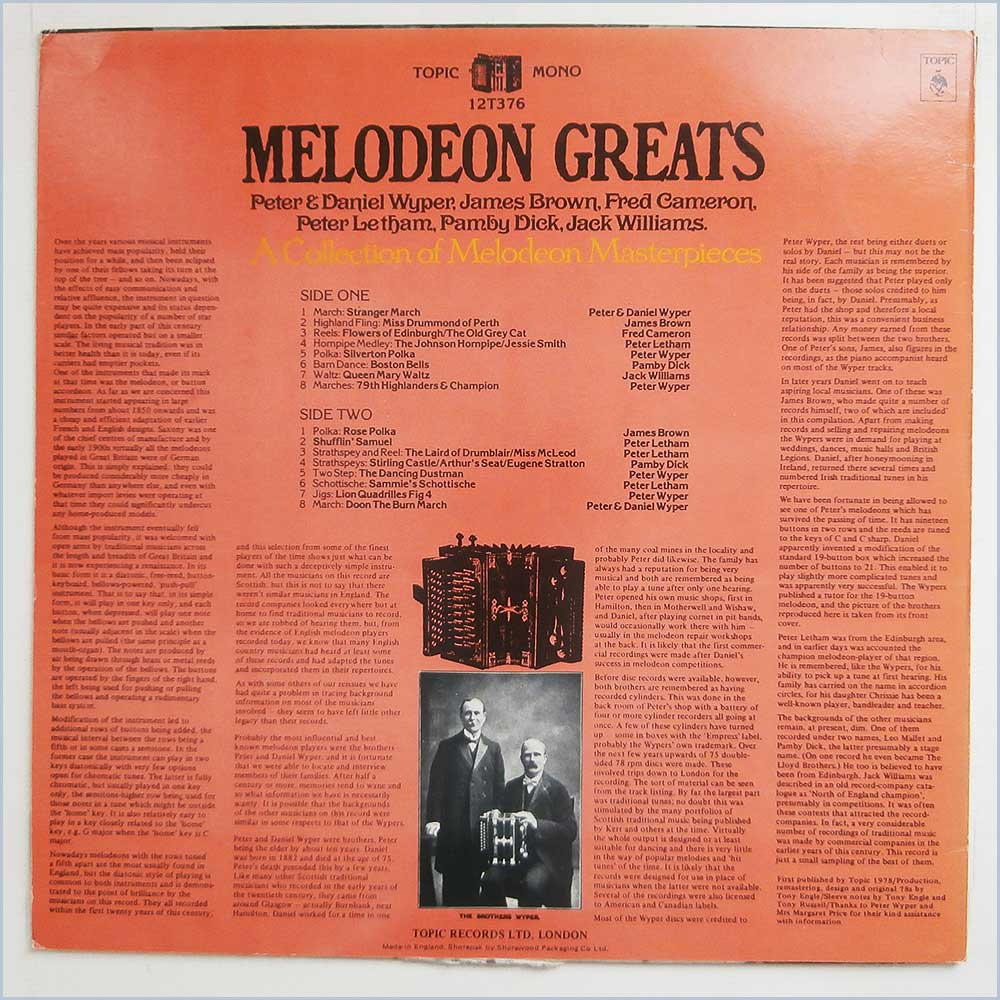 Various - Melodeon Greats, A Collection Of Melodeon Masterpieces (12T376)