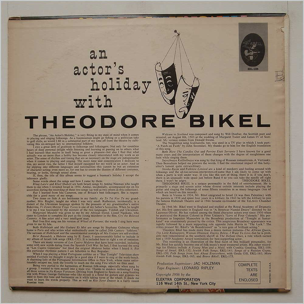 Theodore Bikel - An Actor's Holiday (EKL-105)