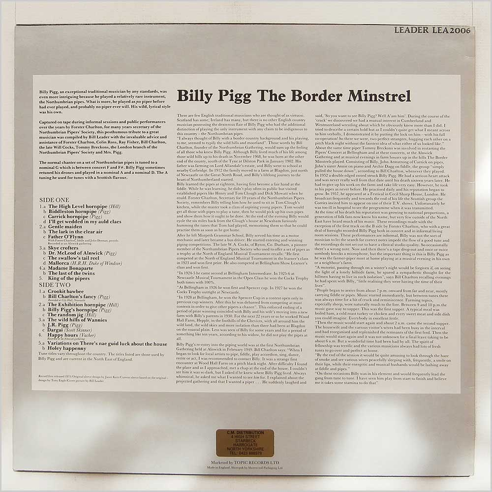 Billy Pigg - The Border Minstrel (LEA2006)