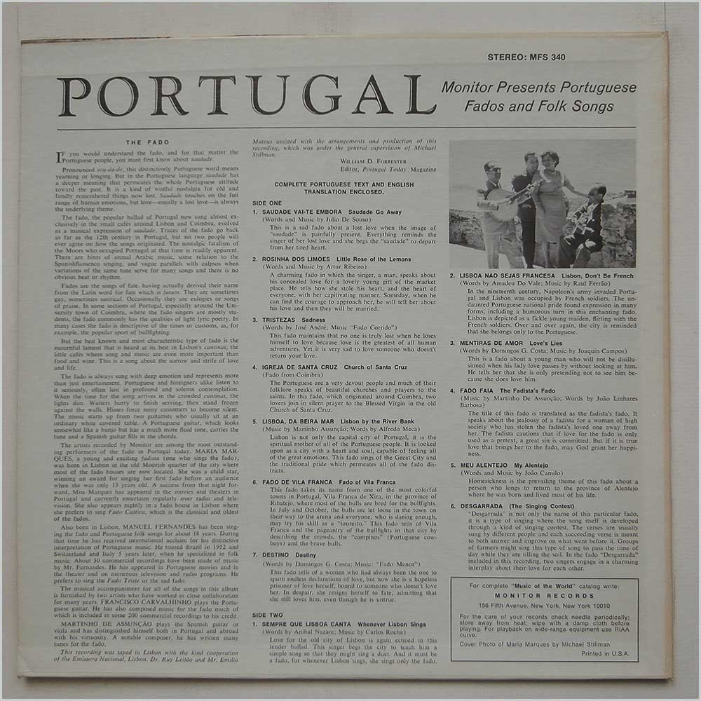 Maria Marques and Manuel Fernandes - Monitor Presents Portuguese Fados And Folk Songs (MFS 340)