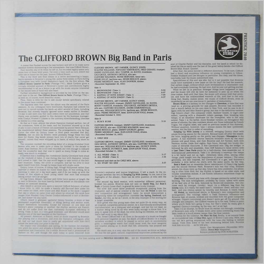 Clifford Brown - The Clifford Brown Big Band In Paris 1953 (PRESTIGE 7840)