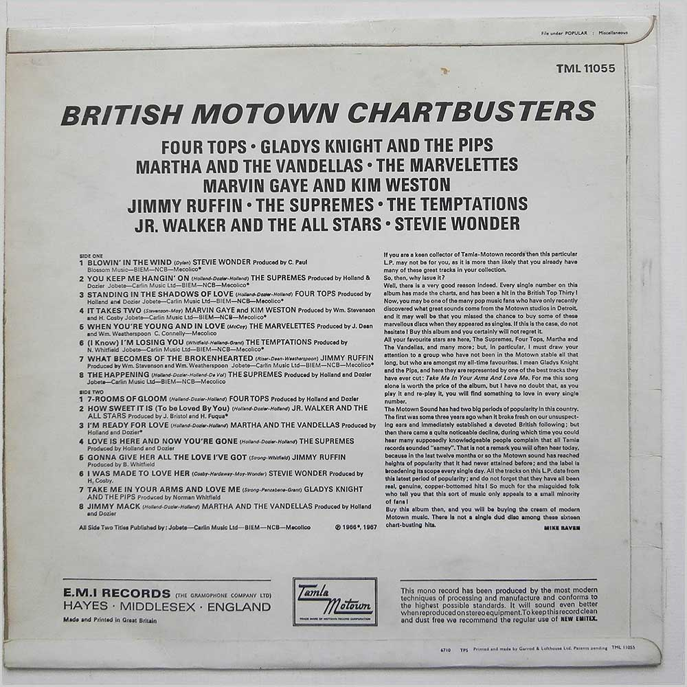Various - British Motown Chartbusters (TML 11055)