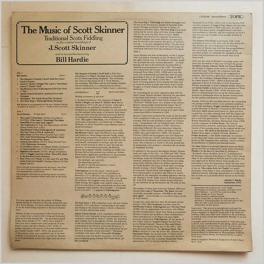 Bill Hardie and Scott Skinner - The Music Of Scott Skinner: Traditional Scots Fiddling on The Original Recordings of J. Scott Skinner (12TS268)