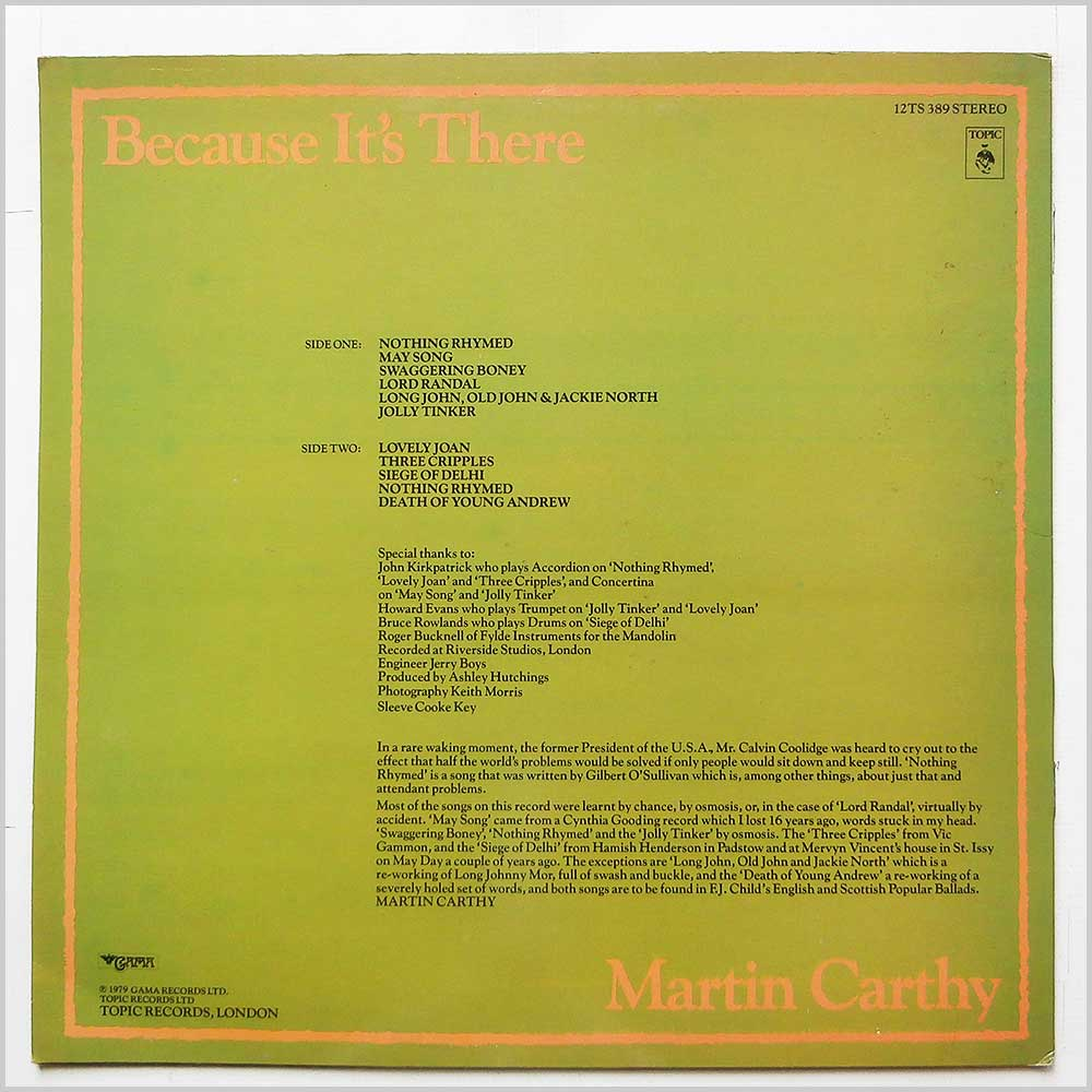 Martin Carthy - Because It's There (12TS 389)
