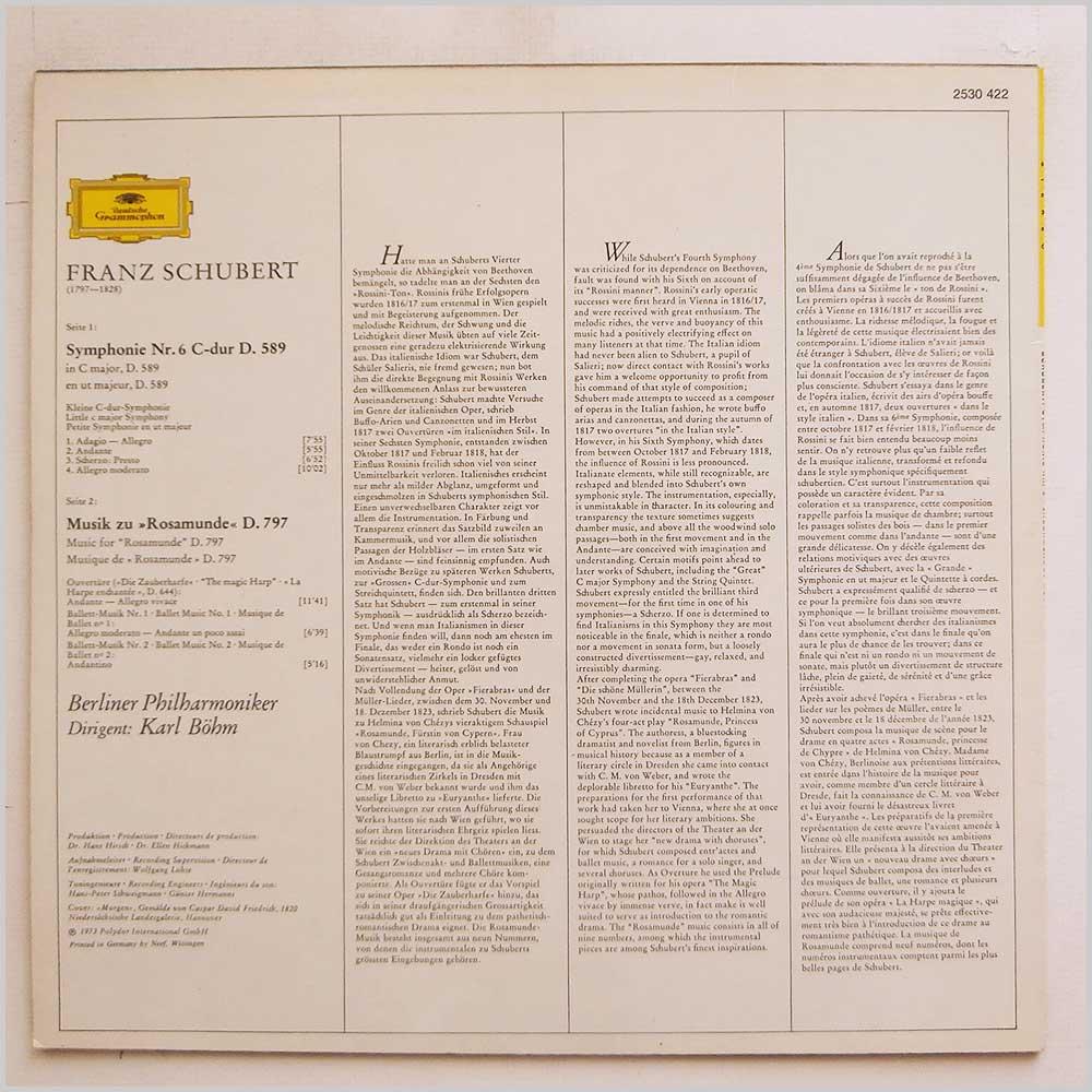 Karl Bohm, Berliner Philharmoiker Franz Schubert: Symphonie Nr. 6 Musik Zu Rosamunde