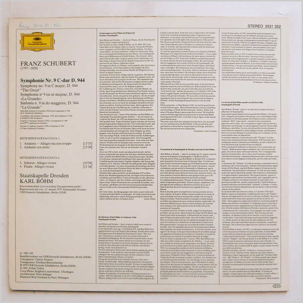 Karl Bohm, Staatskapelle Dresden Schubert: Symphonie No. 9