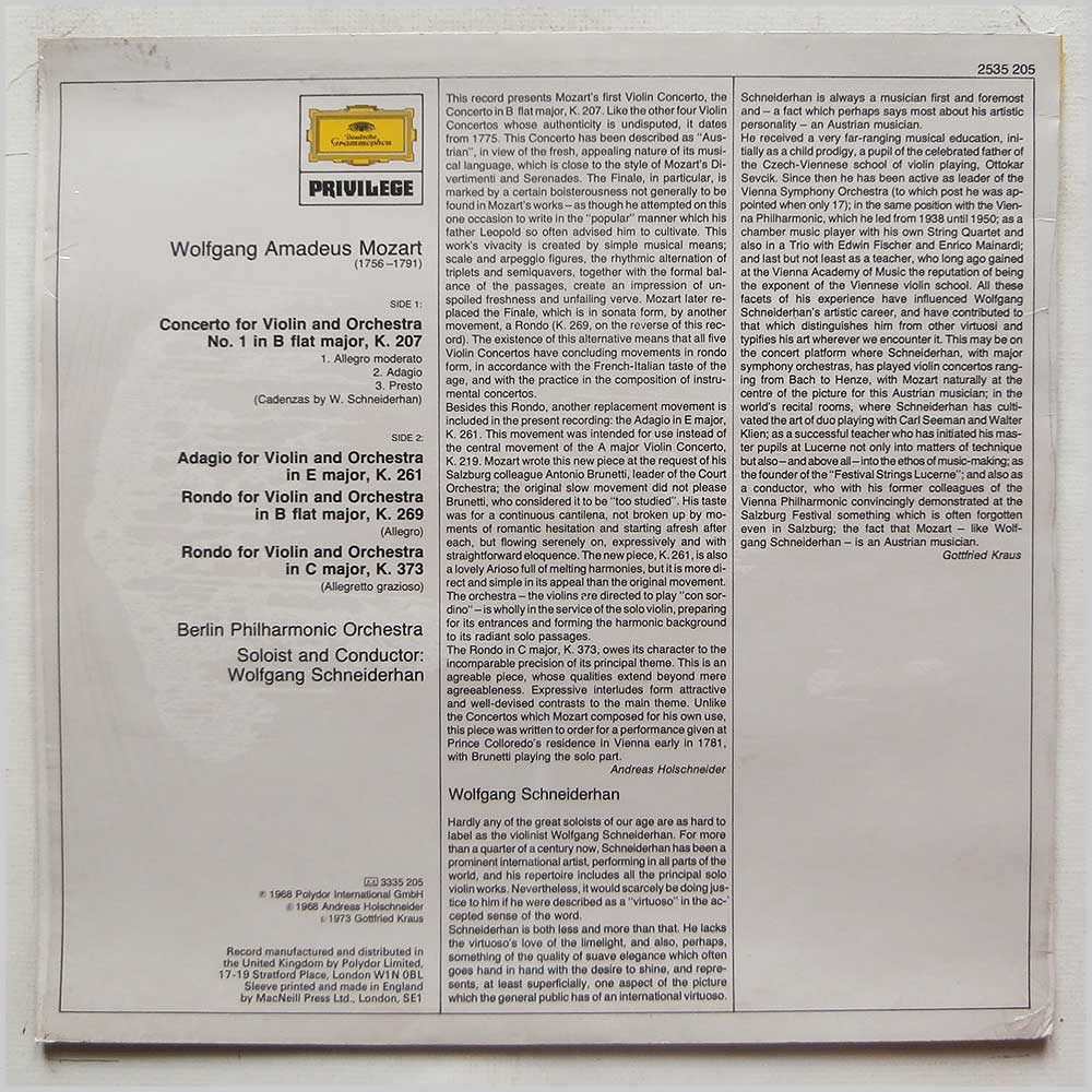 Wolfgang Schneiderhan, Berlin Philharmonic Orchestra - Mozart: Concerto No. 1 in B Flat Majro, Adagio in E Major, K.261, Rondo Concertante in B Flat Major, K.269, Rondo in C Major, K.373 (2535 205)