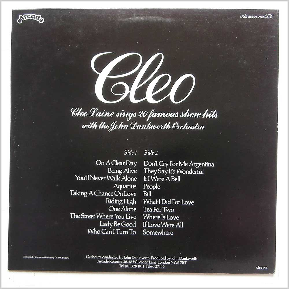 Cleo Laine - Cleo Laine Sings 20 Famous Show Hits (ADE P 37)
