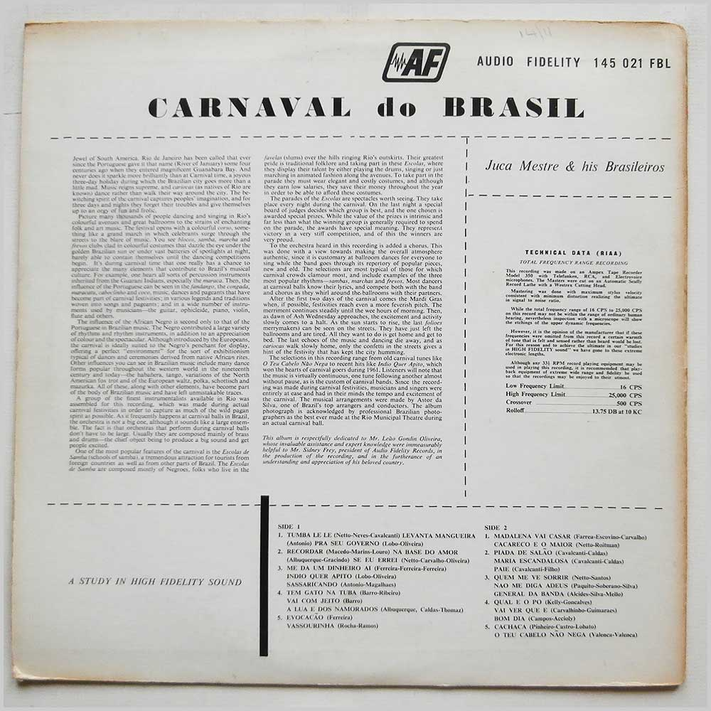 Juca Mestre And His Brasileiros - Carnaval Do Brasil 30 Exciting Carnival Songs (AF 145 021 FBL)