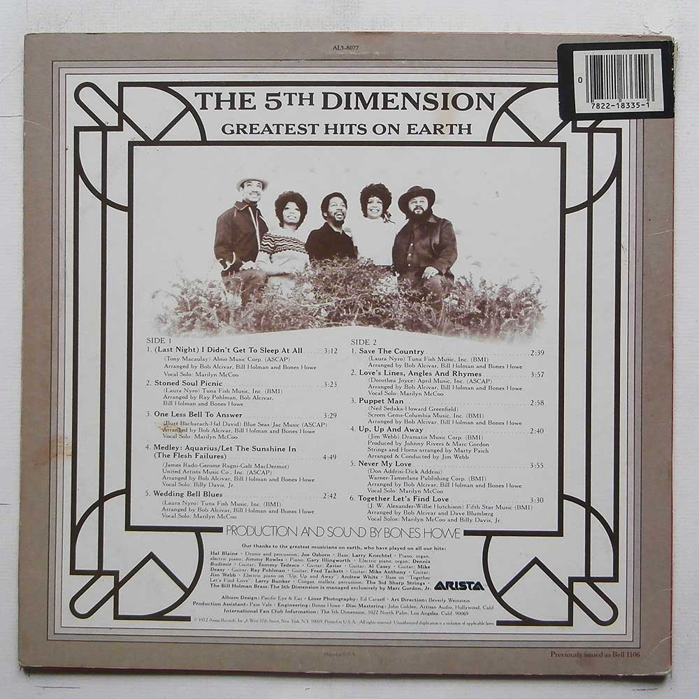The 5th Dimension - Greatest Hits On Earth (AL5-8077)