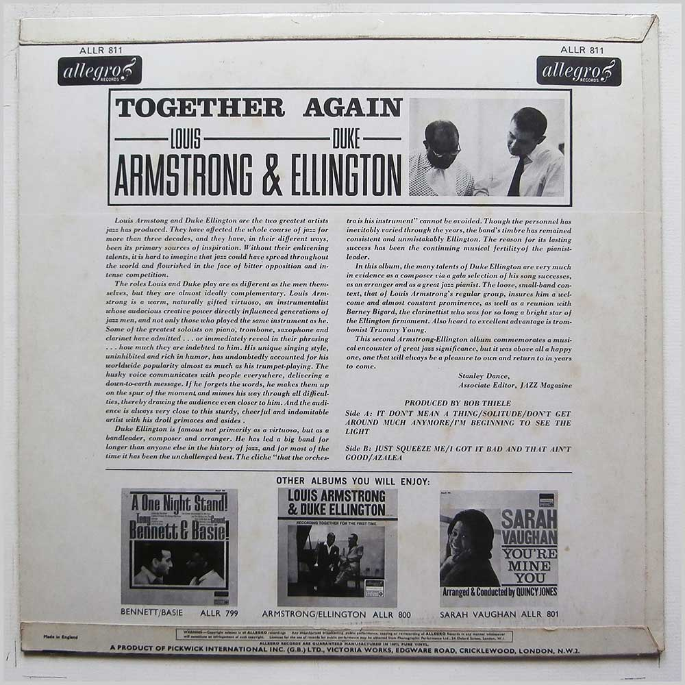 Louis Armstrong And Duke Ellington - Together Again (ALLR 811)