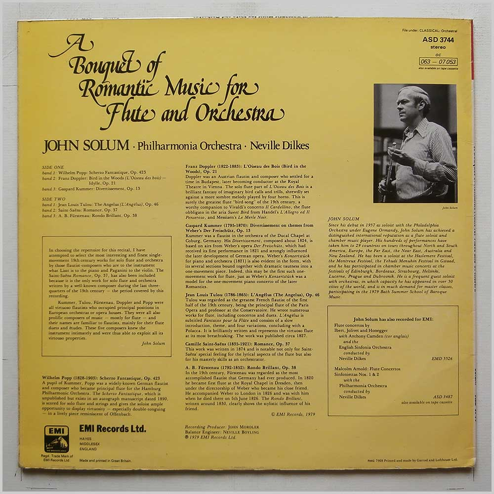 John Solum, Neville Dilkes, Philharmonia Orchestra - Bouquet Of Romantic Music For Flutes and Orchestra (ASD 3744)