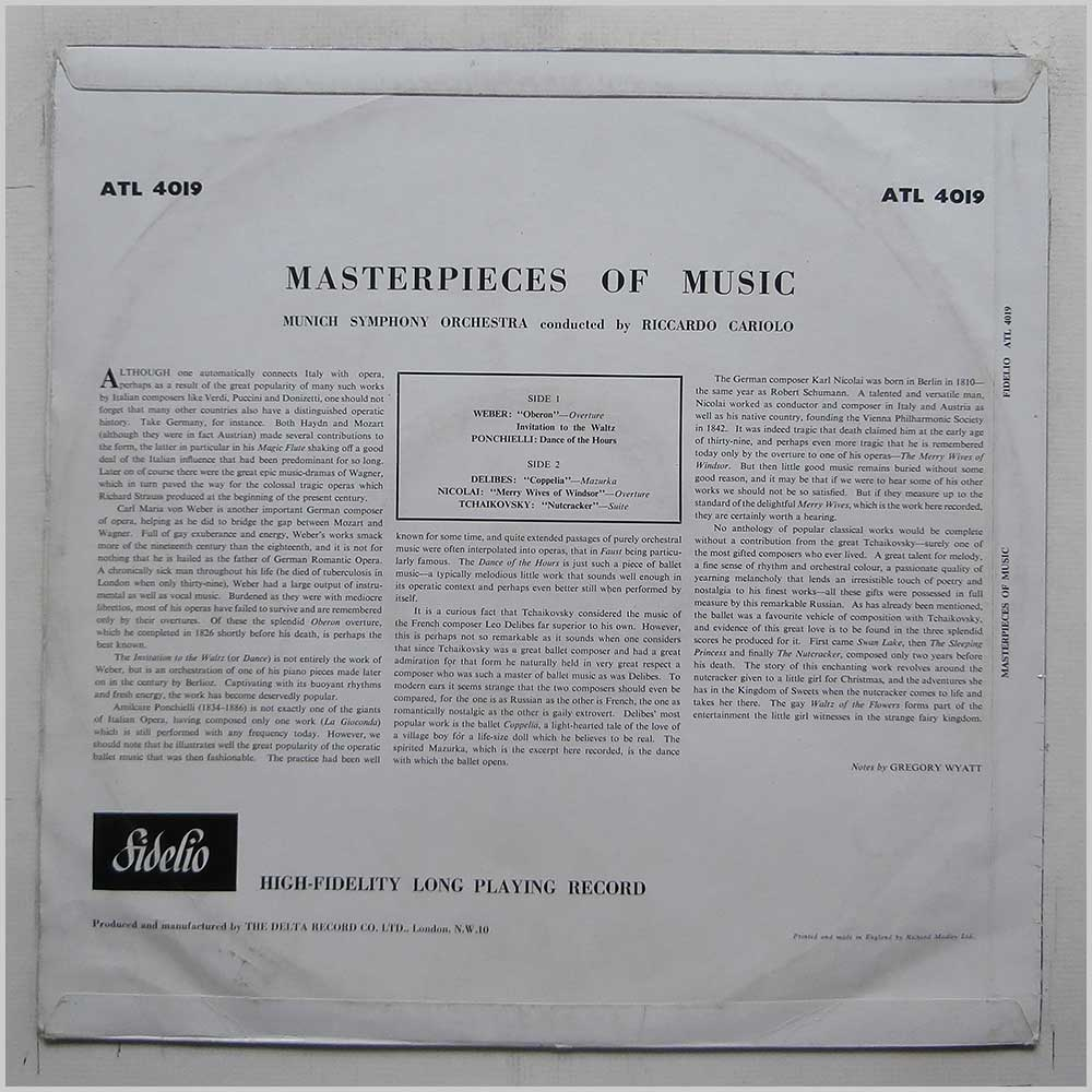 Riccardo Cariola, Munich Symphony Orchestra - Masterpieces Of Music (ATL 4019)