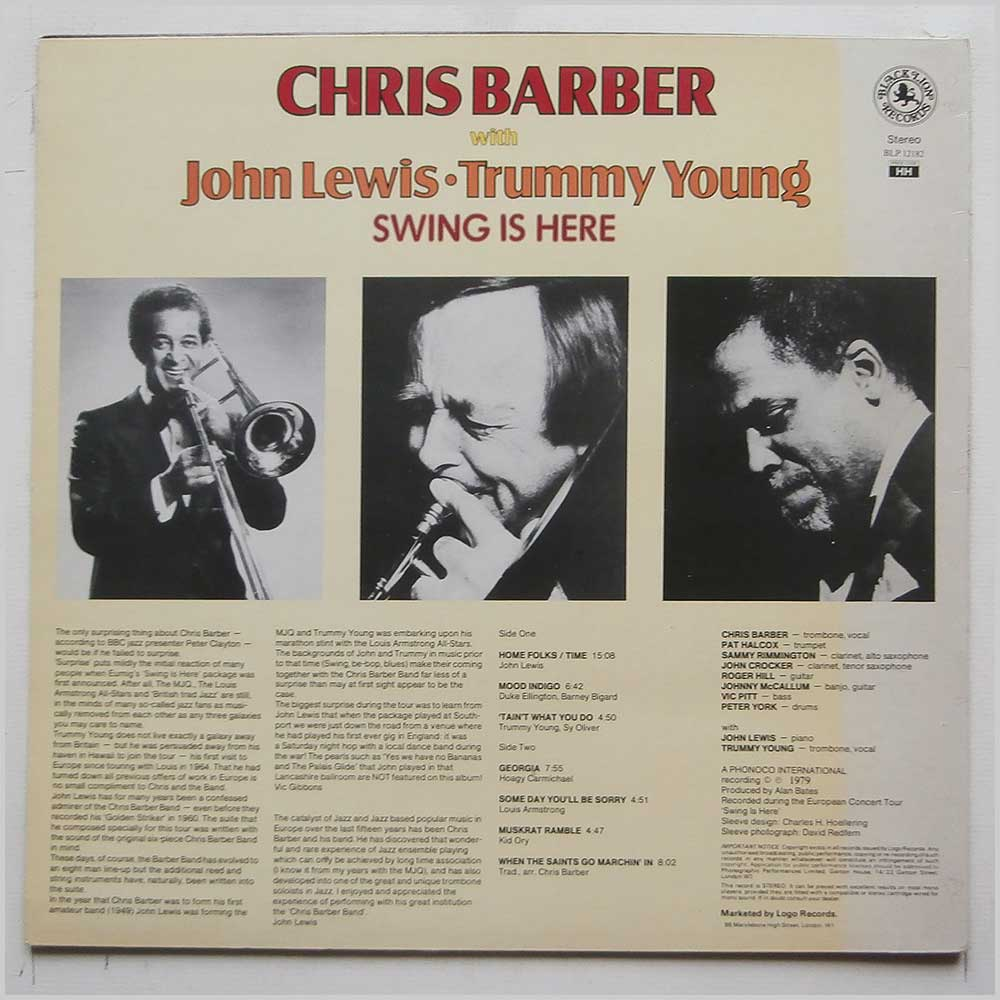 Chris Barber, John Lewis, Trummy Young - Swing Is Here (BLP 12182)