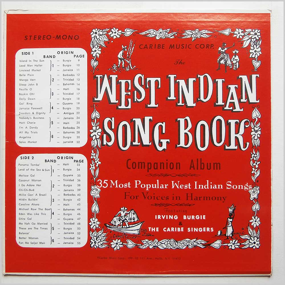 Irving Burgie And The Caribe Singers - The West Indian Song Book (CARIBE MUSIC 100)