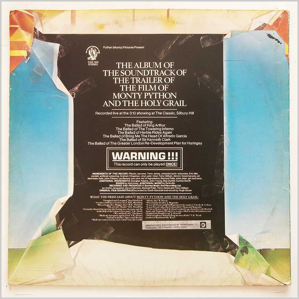 Monty Python - The Album Of The Soundtrack Of The Trailer Of The Film Of Monty Python and The Holy Grail (CAS 1103)