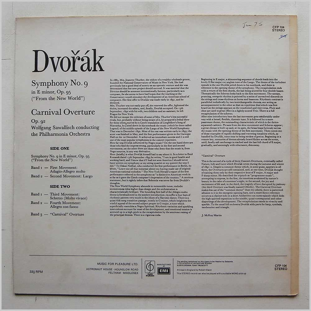 Wolfgang Sawallisch, The Philharmonia Orhcestra - Dvorak: New World Symphony, Carnival Overture (CFP 104)