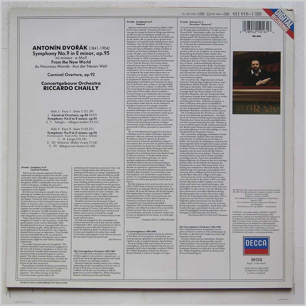 Riccardo Chailly, Concertgebouw Orchestra - Dvorak: Symphony No 9 From The New World (DECCA 421  016-1)