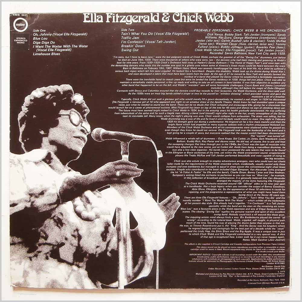 Ella Fitzgerald, Chick Webb - Ella Sings Chick Swings (EMB 3431)