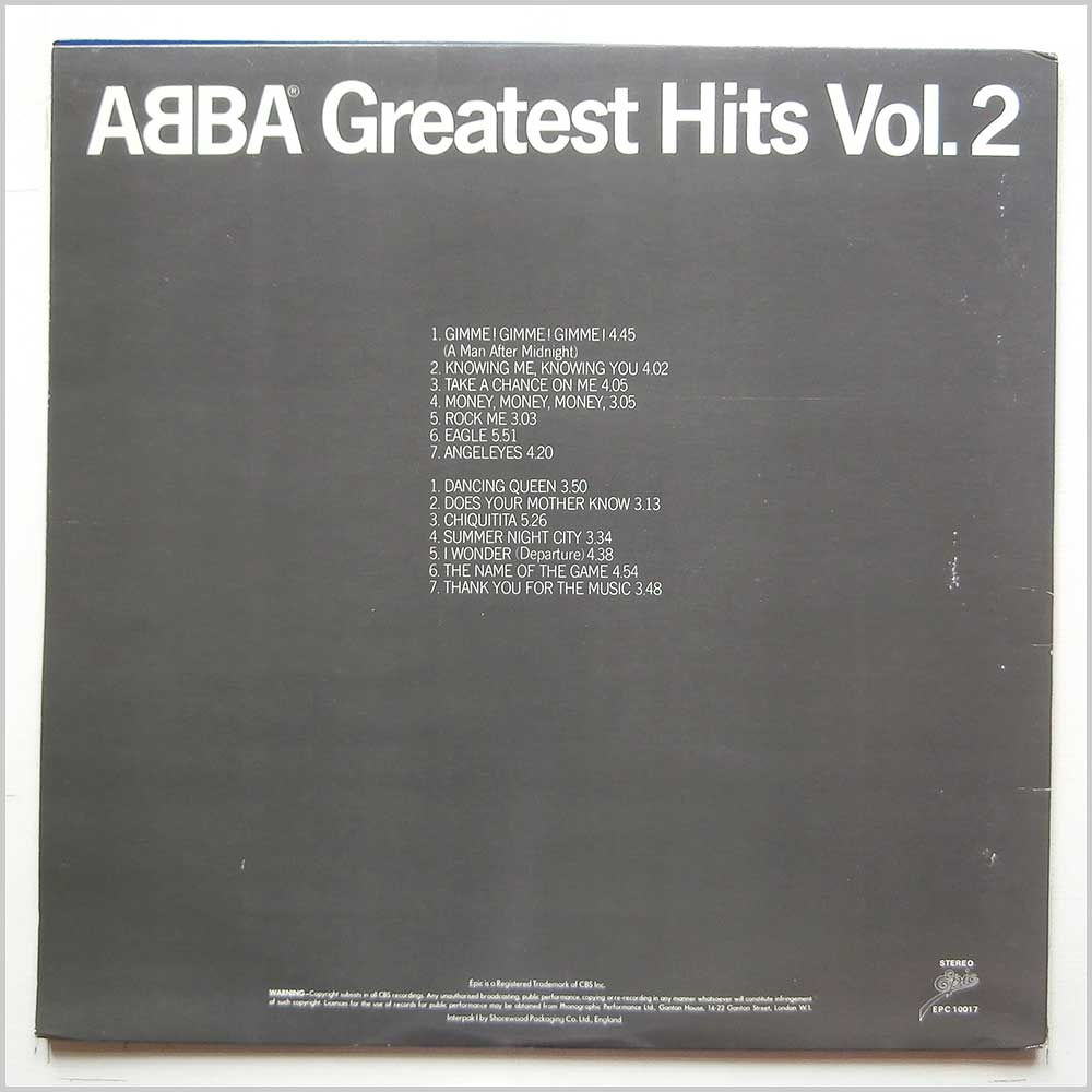 Abba - Greatest Hits Vol.2 (EPC 10017)