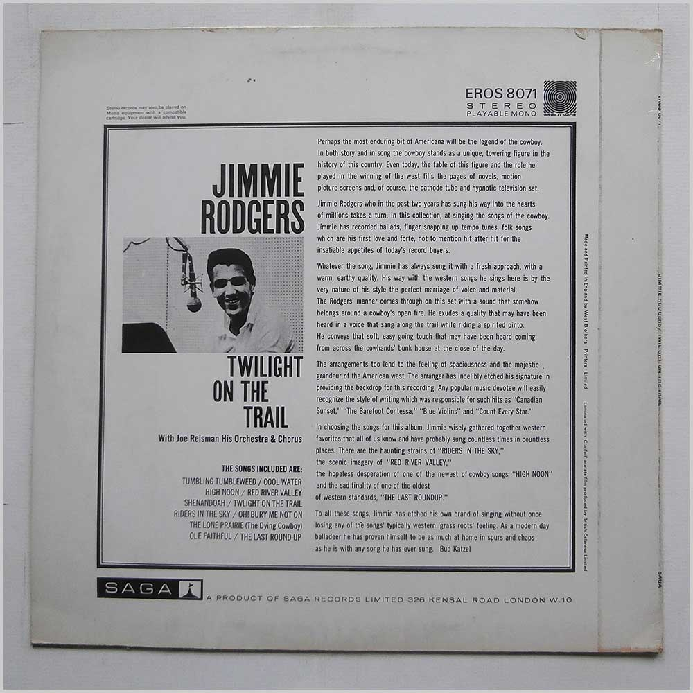 Jimmie Rodgers - Twilight On The Trail (EROS 8071)