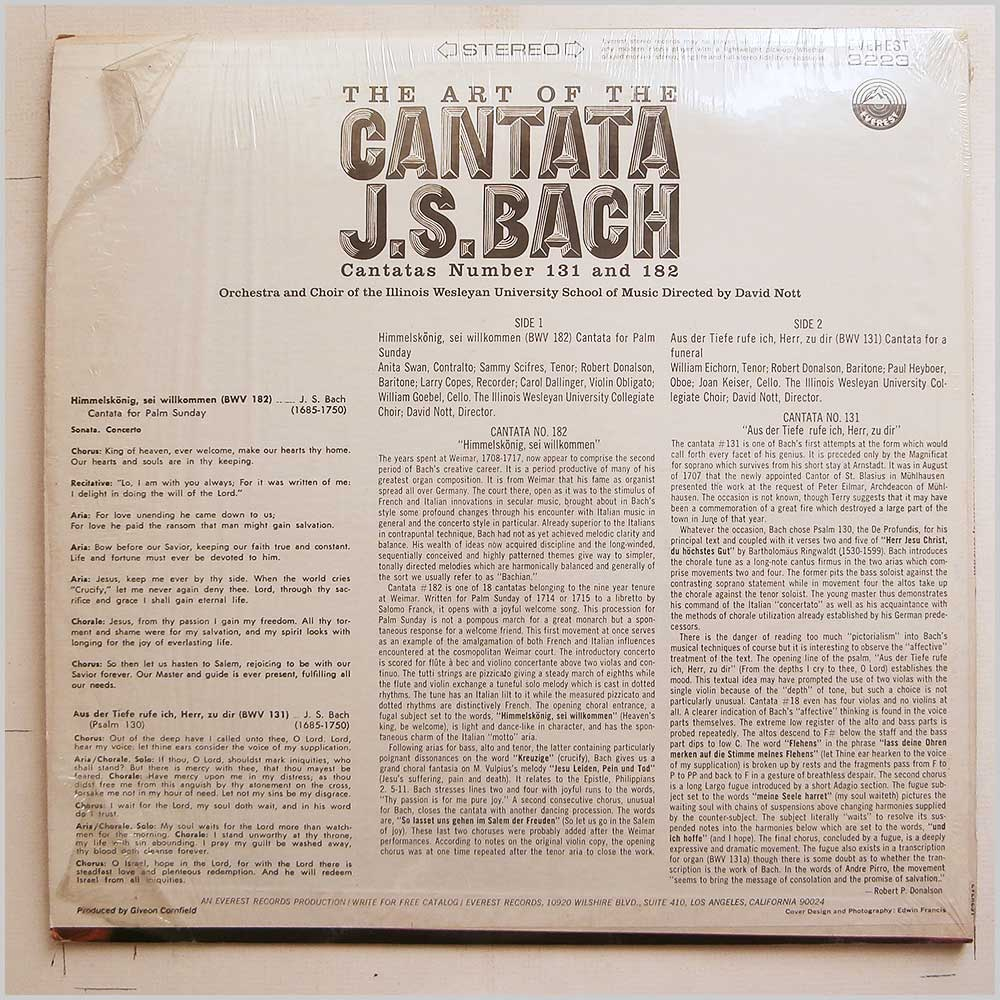 David Nott, Orchestra and Choir Of The Illinois Wesleyan University School Of Music - J.S. Bach: The Art Of The Cantata: Cantatas Number 131 and 182 (EVEREST 3223)