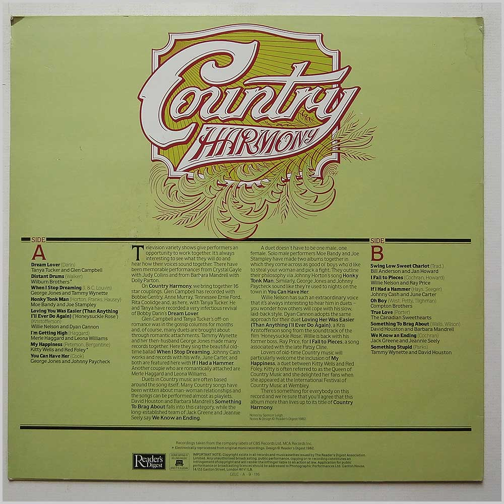 Various - Country Harmony (GELC-A-9-116)