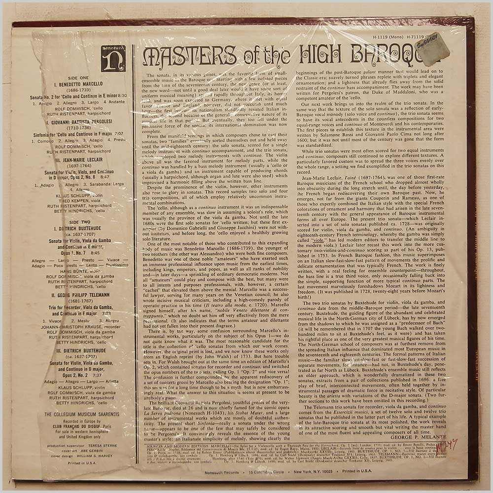 The Collegium Musicum Saarensis - Masters Of The High Baroque (H-71119)