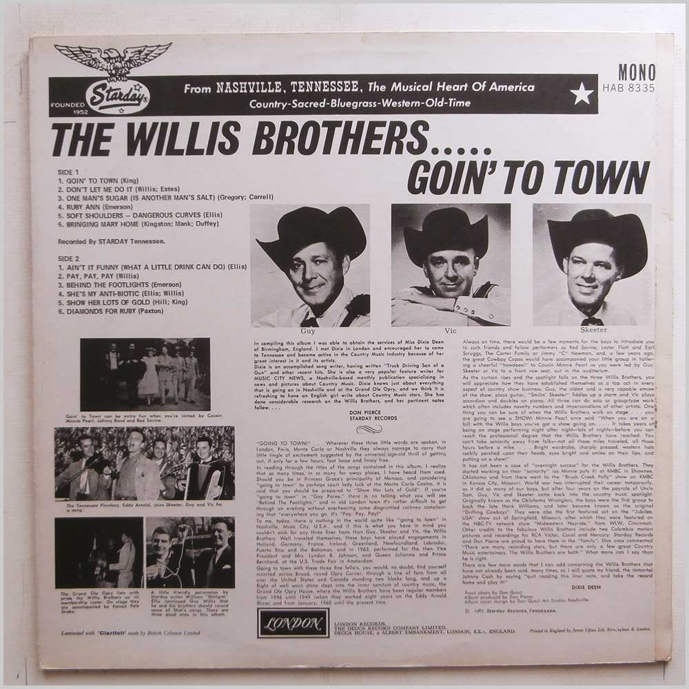 The Willis Brothers - Goin' To Town (HAB 8335)