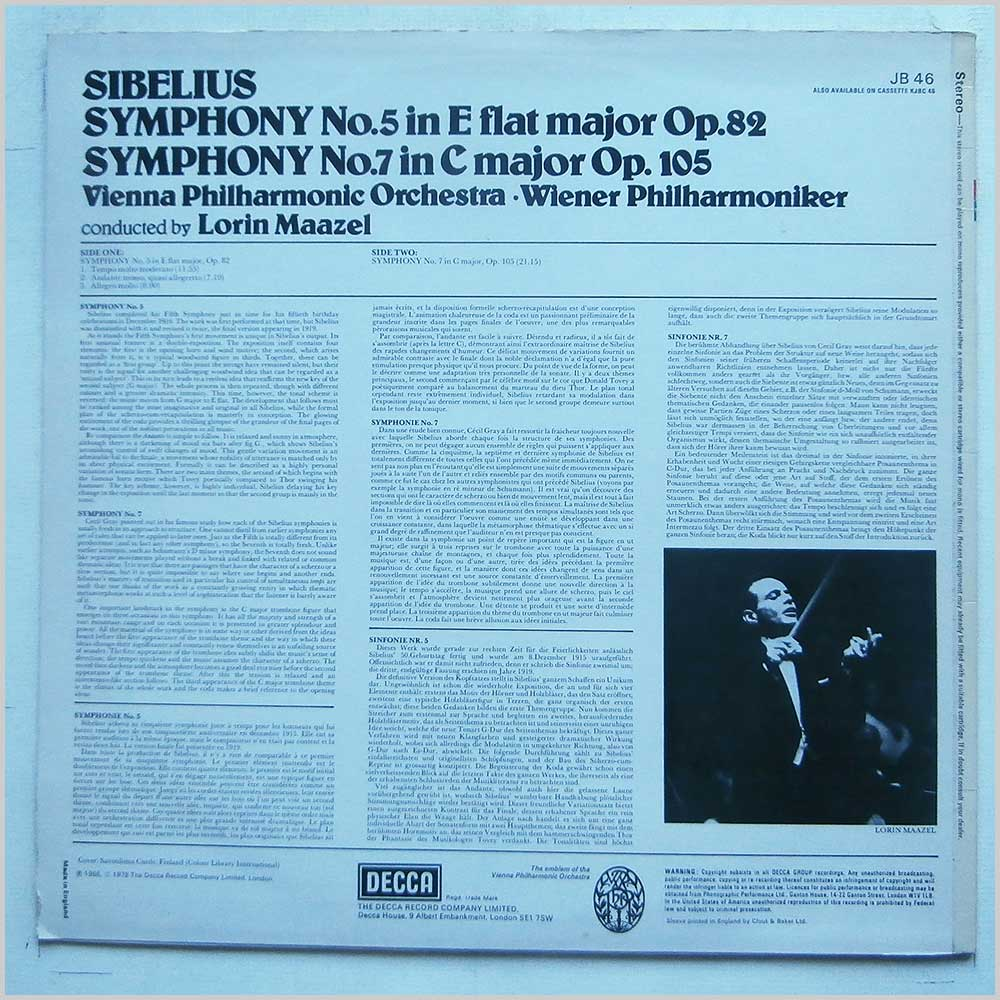 Lorin Maazel, Vienna Philharmonic Orchestra - Sibelius: Symphony No.5 in E Flat Major, Symphony No.7 in C Major (JB 46)