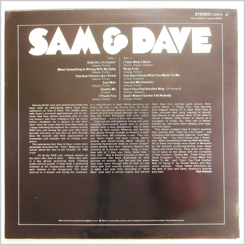 Sam and Dave - The Best Of Sam and Dave (K20073)