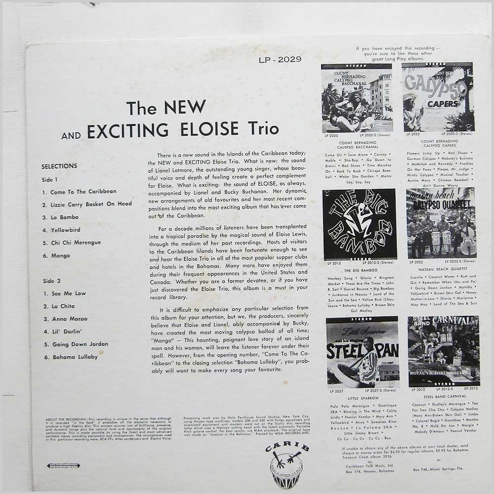 Eloise Trio - The New And Exciting Eloise Trio (LP-2029)