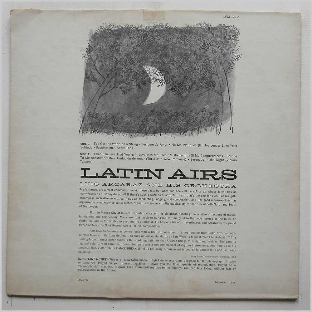 Luis Arcaraz and His Orchestra - Latin Airs (LPM-1712)