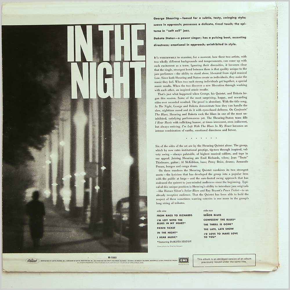 The George Shearing Quintet with Dakota Staton - In The Night (M-1003)