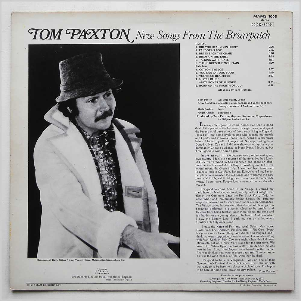 Tom Paxton - New Songs From The Briarpatch (MAMS 1005)