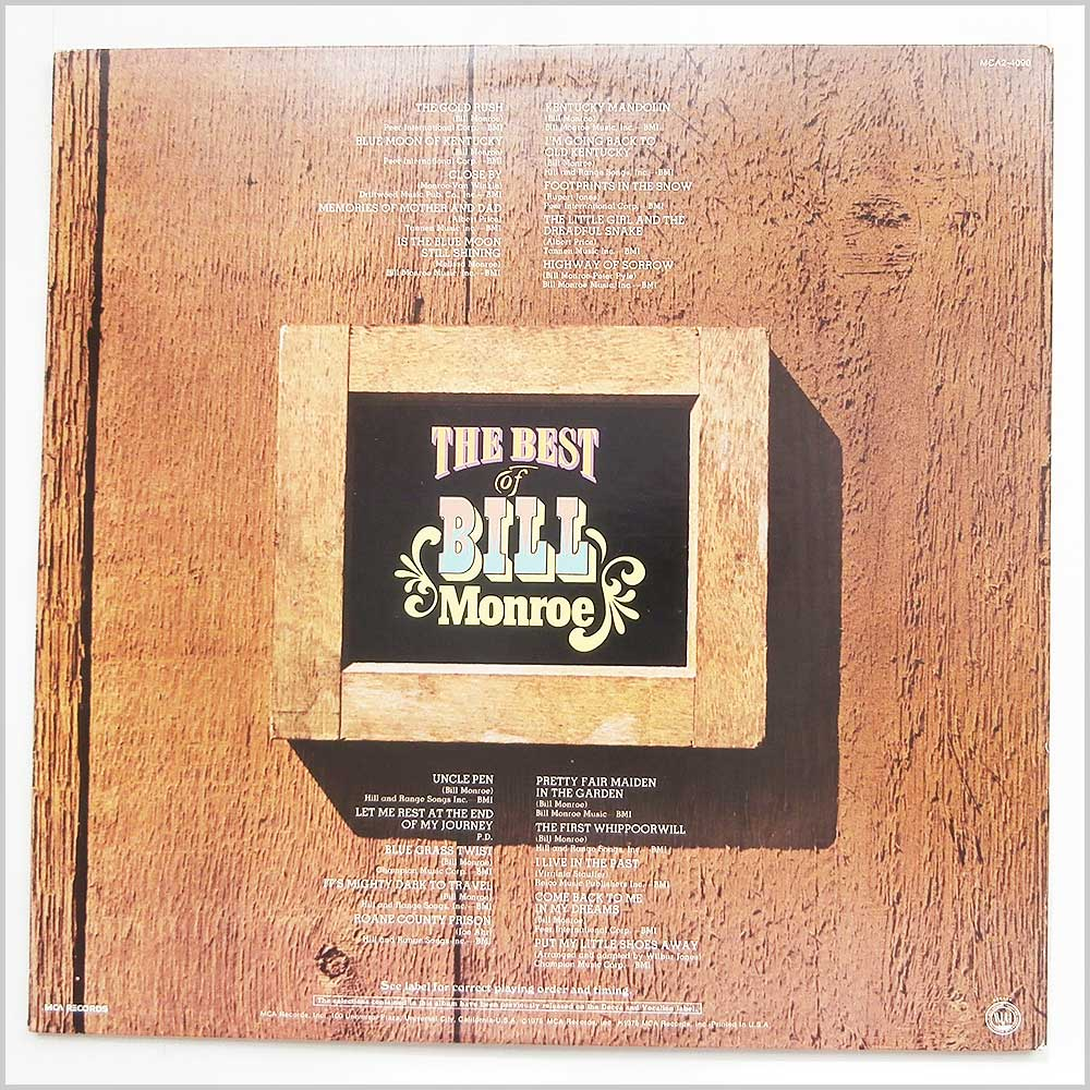 Bill Monroe - The Best Of Bill Monroe (MCA2-4090)